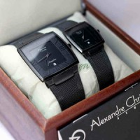 Jam Tangan Couple Alexandre Christie AC 8329 Full Black Original