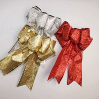 [globalbuy] New Christmas Bow Red Gold Silver Christmas Ribbon Bow Christmas Tree Decorati/3177550