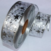 [globalbuy] 50MM Wide Silver Ribbon Gauze Ribbon Printing Star Christmas Tree Decoration C/3177647