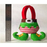 [globalbuy] Christmas Decorations Cute Green Feet Elf Christmas stand up Candy Gift Bag ap/3176463