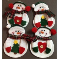 [globalbuy] 8pcs/lot snowman Christmas Knife and fork cover sets christmas decoration new /3176376