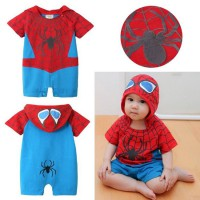 Baby Boy Spiderman Character Hooded Romper