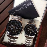 Jam Tangan Couple Alexandre Christie AC 6141 Silver Black Original