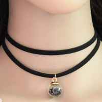 Kalung Choker Double Layer Black Ball Glass KN44676