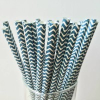 [globalbuy] 25pcs Paper Straws, Navy Blue Wavy Drinking Paper Straws Banquet Wedding Decor/3171125