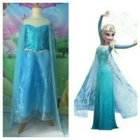 Baju Dress Anak/Gaun Anak/Kostum Elza Frozen Semprem