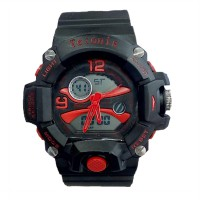 Tetonis Dual Time - Jam Tangan Pria - Rubber Strap Hitam - Black Red - TS-56