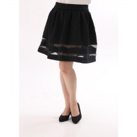[★KOREAN FAVOURITE Skirt] Cute Structured Bell-Shape Midi Skirt / 2-lines transparent / Super Thick Embossed Stretch Cotton Fabric / Rok Bahan Katun Embos yang Sangat Tebal / in Black Color