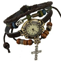 [poledit] SumBonum Jewelry Womens Alloy Leather Rope Surfer Wrap Bracelet Wrist Watch, Vin/13602148