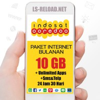 Indosat Paket Data KUOTA 10GB (3G/4G)+Unlimited Apps,Telp&Sms sesama 24jam, 30hari