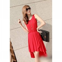 Long Dress Merah Penguin Tanktop Stretch (AC D 28)