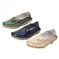 Women Leather Shoes Loafers Soft Leisure Flats Female Casual Shoes (Banyak Warna) GRATIS ONGKIR