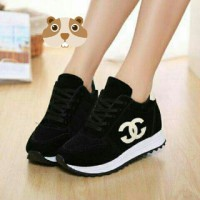 SEPATU KETS CHANEL TB-620 HITAM / WEDGES / HIGH HEELS / SNEAKERS / KETS / CASUAL / BOOTS /FLAT SHOES