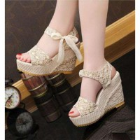 WEDGES BRUKAT PITA 888 CREAM / WEDGES / HIGH HEELS / SNEAKERS / KETS / CASUAL / BOOTS / FLAT / SLIP