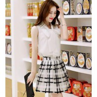 [DJ] bow blouse embroidered piece Plaid skirt suit