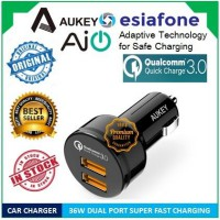 [esiafone fast speed] AUKEY USB Car Charger 2 Port Qualcomm Quick Charge 3.0 & AiPower [Original]
