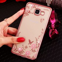 Samsung J7 Prime Cute Case Flower Plating Luxury Diamond