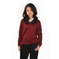 Vannesa sweater rajut Wanita Maroon Okechuku / sweater V neck / Fashion / Sweater