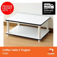 FUNIKA 11172WH(EX)WH - Coffee Table Putih 2 Tingkat