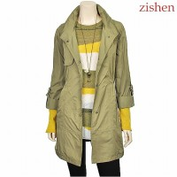 [Zishen] Turnup Sleeve Button Ornament Coat LBCAF803_KH