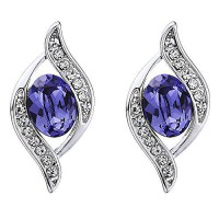 [macyskorea] Erika & Alex Jewelry Swarovski Elements Violet Occhio Earrings Rhodium Plated/7839451