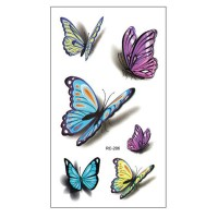 RC206 Waist Shoulder Water Transfer Tato Waterproof Temporary Tatto Sticker Colorful Butterfly Fake