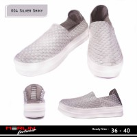 Merlin shoes-casual sneaker import-breathable-sepatu flyknit 004 silver shiny