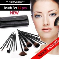 12PCS MAKEUP BRUSH SET with LEATHER POUCH - ELEGANT