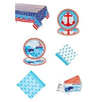 [poledit] FX Baby 1st Sailor Birthday Party Pack 57 Pieces/ Tablecloth/Tableware/invitatio/13551640
