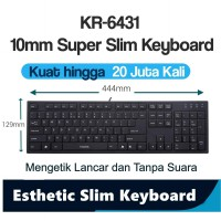 i-Rocks Ultra Slim Keyboard Usb 20Jt kali ketik,3area wired KR6431B