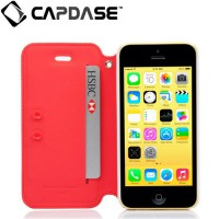 Capdase Apple iPhone 5C Case, Folder Case Sider Baco (Red/White)