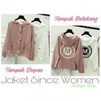 jaket wanita m since/model korea/bahan canvas/warna pink dan putih