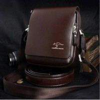 Tas Selempang Pria Kulit Cokelat | Mens Leather Sleeve Bag Elegant Brown [High Quality]