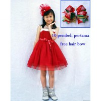 FREE HAIR BOW ~Cutevina~ Amour Chistmas Dress (8-12 th)AM3092