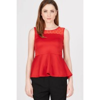 PR Sleeveless Top with Lace on Side Red