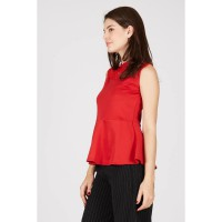 PR Sleeveless Top with Lace Upfront Red