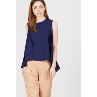 PR Sleeveless Top with Layer on Front Navy