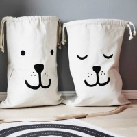 [globalbuy] Brand Design Large Canvas Storage Bags Cute Batman Bear Pattern Laundry Home F/3797614