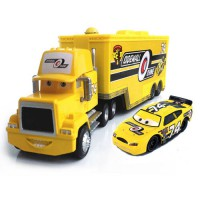 [globalbuy] Standard Metal No.74 Race Car Driver Container Truck Model Vehicle Toy for Kid/3161542