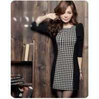 Dress Hitam Motif Tangan Sedang Slim Fit (KK D 29)