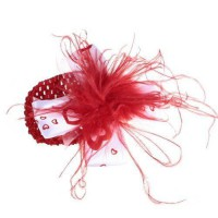 [poledit] So Beauty Baby-girls Newborn Red Ostrich Feather Headband Love Heart Hairband (T/14639042