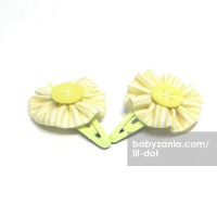 Lil Dot - Small Flower Clip Yellow Stripe