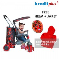 Smart Trike & Go 5 in 1 Touch Steering Tricycle - Red (FREE HELM + JAKET)