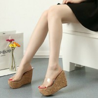 WEDGES MIKA 971 TAN / WEDGES / HIGH HEELS / SNEAKERS / KETS / CASUAL / BOOTS / FLAT / SLIP ON /