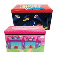Kotak Mainan Toy Box Cartoon SuperHero Princess Dino Retno Toy Box Seat