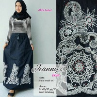 Rok Jeans Wash Print Timbul Jeanny / Long Skirt Jeans Wash Lucu Murah