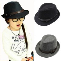Camp Fedora Hat Impor - Black and Grey
