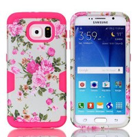 [holiczone] Galaxy S6 Case,HKW(TM) Flowers Pattern Samsung Galaxy S6 Case Full Body Hybrid/1669224