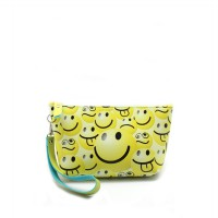London Berry by HUER - Owena Retro Print Pouch With Wristlet Smiley Yellow