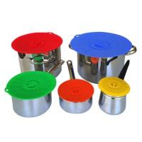 [globalbuy] 5pcs Universal Silicone Suction Lid-bowl Pan Cooking Pot Lid-Silicon Stretch S/3745459